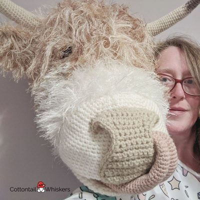 Amigurumi highland cow crochet head pattern by cottontail and whiskers