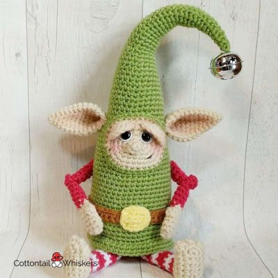 Amigurumi Christmas Elf Crochet Pattern Doll by Cottontail and Whiskers