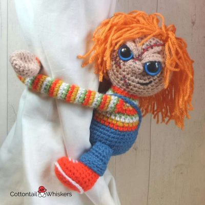 Amigurumi Chucky Tie Backs Crochet Pattern by Cottontail and Whiskers