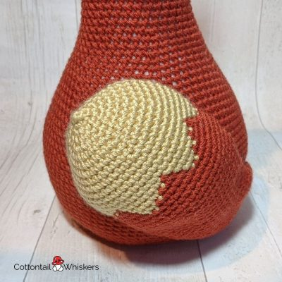Amigurumi crochet fox doorstop pattern by cottontail and whiskers