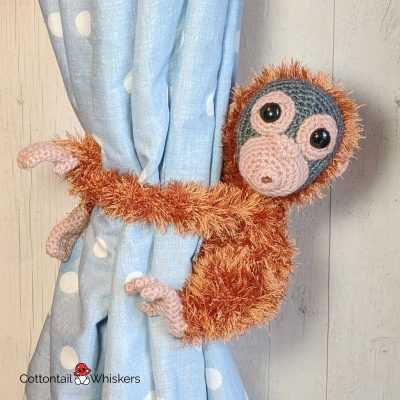 Amigurumi Crochet Orangutan Tie Backs Pattern by Cottontail and Whiskers