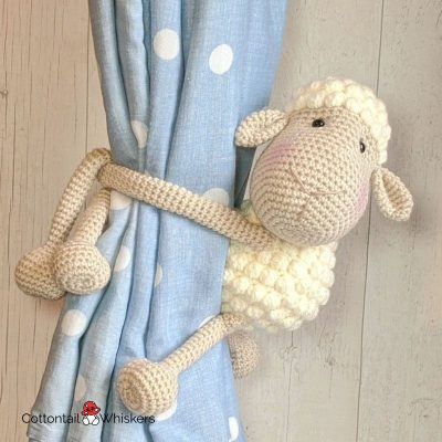Amigurumi Crochet Sheep Tiebacks Pattern by Cottontail and Whiskers