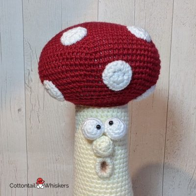 Amigurumi crochet toadstool doorstop pattern by cottontail and whiskers