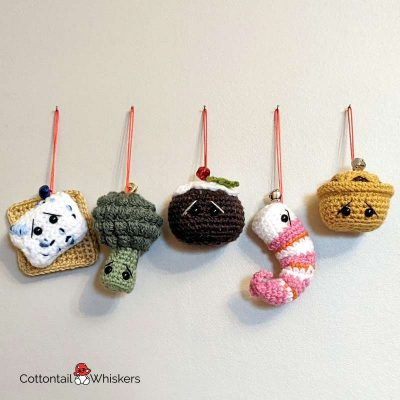 Amigurumi Food Christmas Crochet Patterns by Cottontail and Whiskers