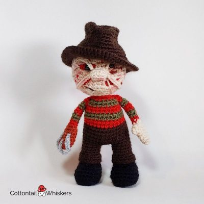 Amigurumi Freddy Krueger Crochet Doll Pattern by Cottontail and Whiskers