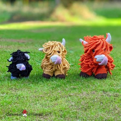 Amigurumi crochet highland cow pattern by cottontail and whiskers