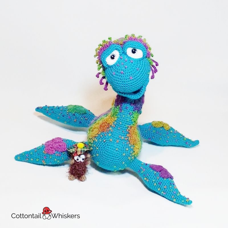 Amigurumi nessie loch ness monster crochet pattern by cottontail and whiskers