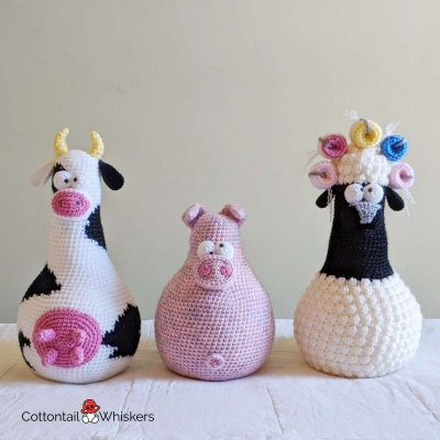 Amigurumi pig door stop crochet pattern by cottontail and whiskers