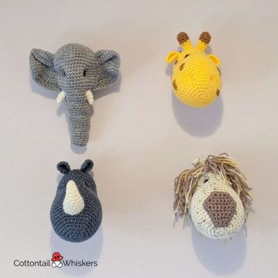Amigurumi Safari Animal Head Crochet Patterns BUNDLE by Cottontail and Whiskers