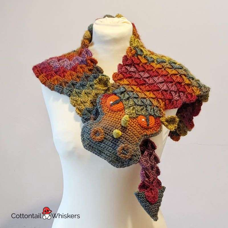 Amigurumi scaled dragon shawl crochet pattern by cottontail and whiskers