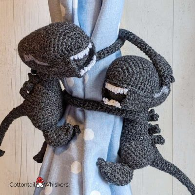 Amigurumi tie backsalien crochet pattern by cottontail and whiskers