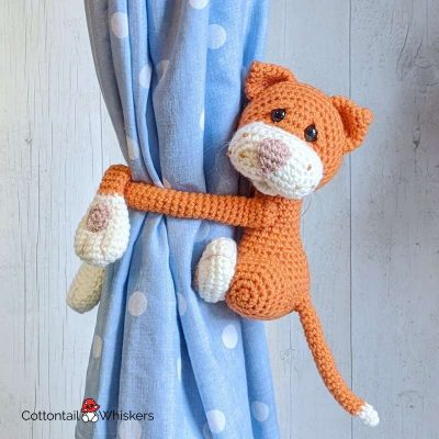 Amigurumi Tie Backs Cat Crochet Pattern by Cottontail and Whiskers