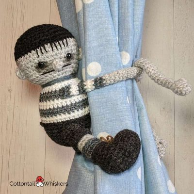 Amigurumi Tie Backs Pugsley Addams Crochet Pattern by Cottontail and Whiskers