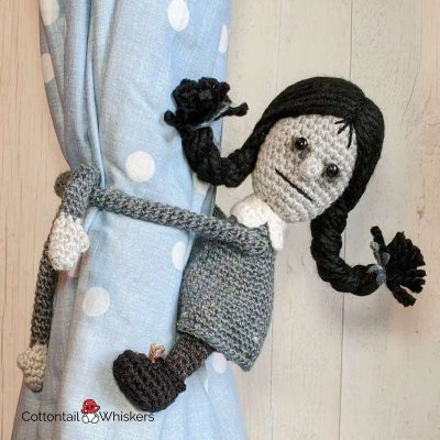 Amigurumi Tie Backs Wednesday Addams Crochet Pattern by Cottontail and Whiskers