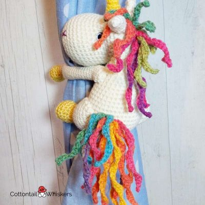 Amigurumi Unicorn Tie Backs Crochet Pattern by Cottontail and Whiskers