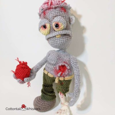 Amigurumi valentines zombie crochet pattern by cottontail and whiskers