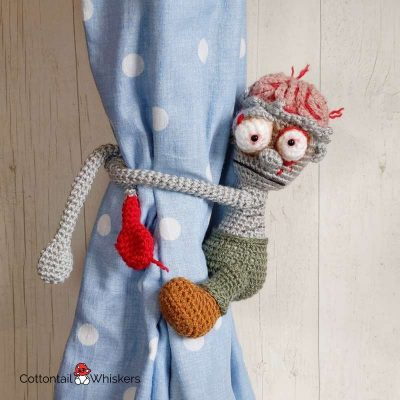 Amigurumi Zombie Tie Backs Crochet Pattern by Cottontail and Whiskers