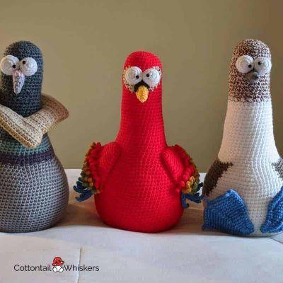 Bert the Amigurumi Crochet Bird Booby Door Stop Pattern by Cottontail and Whiskers