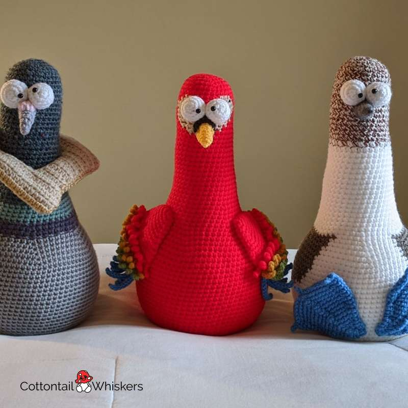 Preston the amigurumi pigeon door stop crochet pattern by cottontail and whiskers