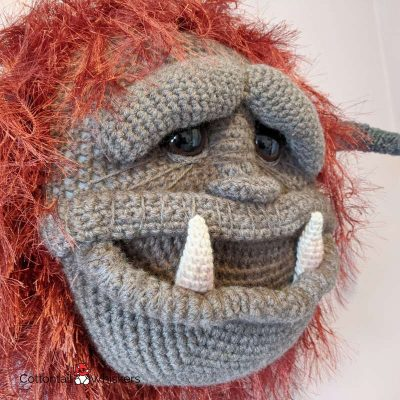 Big amigurumi monster head ludo crochet pattern by cottontail and whiskers
