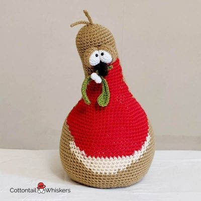 Christmas Crochet Robin Amigurumi Doorstop Pattern by Cottontail and Whiskers