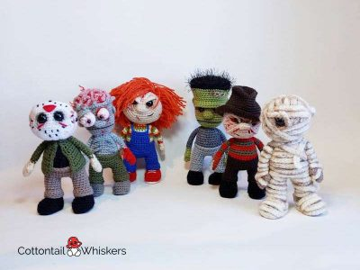 Crochet amigurumi halloween movie doll patterns by cottontail and whiskers