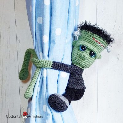 Crochet Frankenstein Amigurumi Tiebacks Pattern by Cottontail and Whiskers