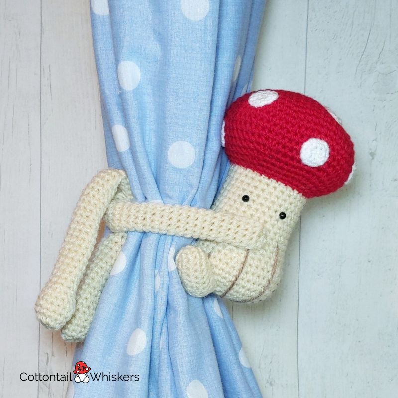 Curtain amigurumi crochet toadstool tiebacks pattern by cottontail and whiskers