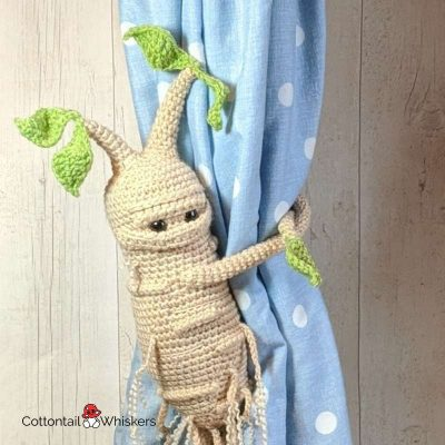 Curtain Amigurumi Tiebacks Crochet Mandrake Pattern by Cottontail and Whiskers