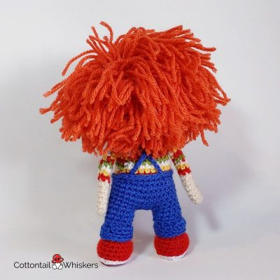Horror amigurumi crochet chucky doll pattern by cottontail and whiskers