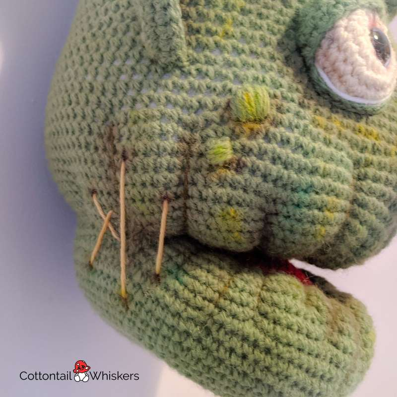 Huge amigurumi frankenstein head crochet pattern by cottontail and whiskers