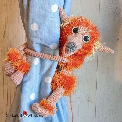Labyrinth firey crochet pattern amigurumi tie backs by cottontail and whiskers