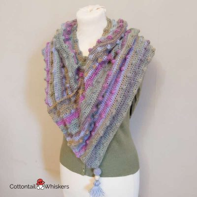 Nobbly Cowl Scarf Crochet Shawl Pattern by Cottontail and Whiskers