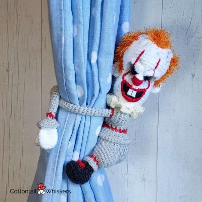 Scary Amigurumi Clown Tie Backs Crochet Pattern by Cottontail and Whiskers