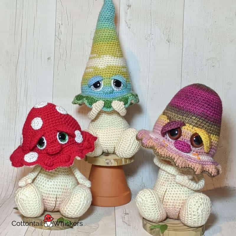 Fungi crochet patterns bundle cottontail & whiskers amigurumi fungi patterns