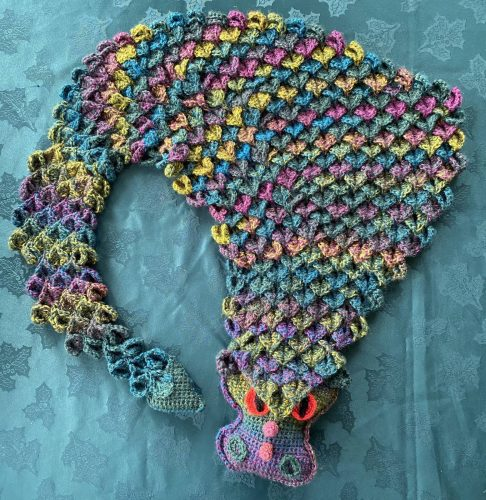 Crochet dragon blanket scarf pattern review for Cottontail and Whiskers by Hannah Jones