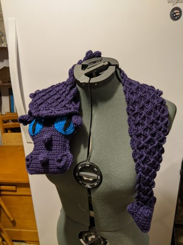 Crochet dragon scale scarf pattern review for Cottontail and Whiskers by Carrie Geldart