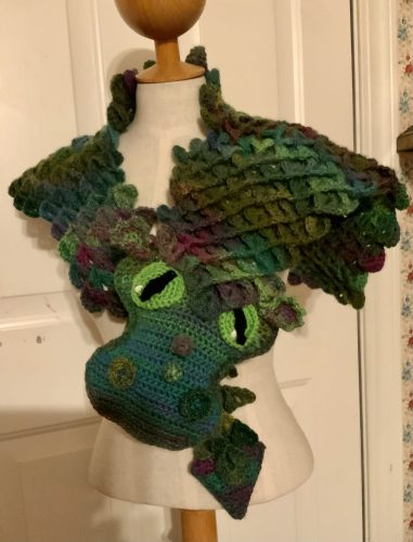 Scaly Dragon Scarf Crochet Pattern Review for Cottontail and Whiskers by Nancy Emerick